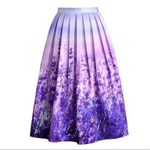 NWOT Endless Lavender Romance Pleated Midi Skirt